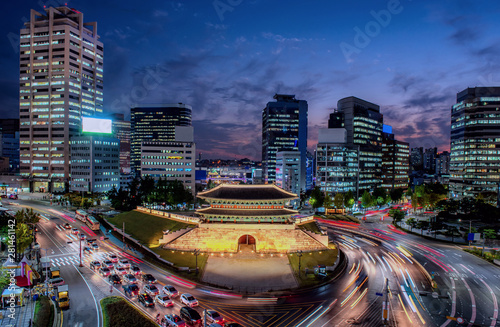 Canvas Prints Seoul traffic in the city at night seoul city south Korea