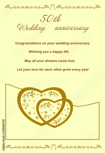 Golden Anniversary Card For Greetings And Writing Text