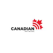Canadian Maple Leaf Network Internet Signal Logo Icon