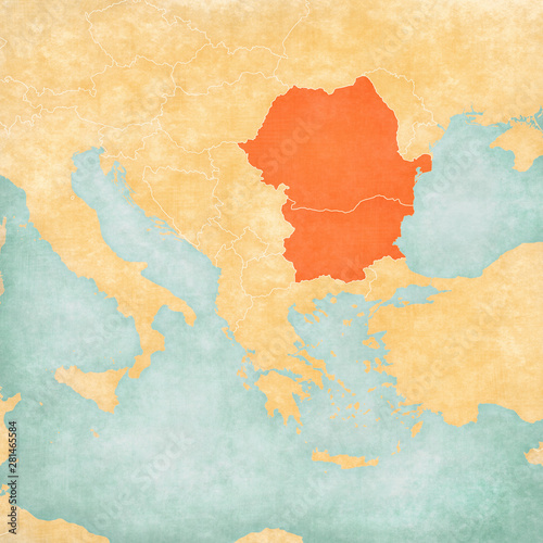Map of Balkans - Romania and Bulgaria Canvas Print