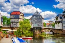 Brückenhäuser Auf Der Alten Nahebrücke Von Bad Kreuznach, Rheinland-Pfalz