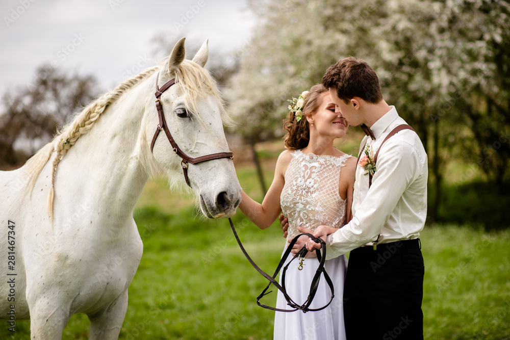Fototapety, obrazy: girl and boy with horse