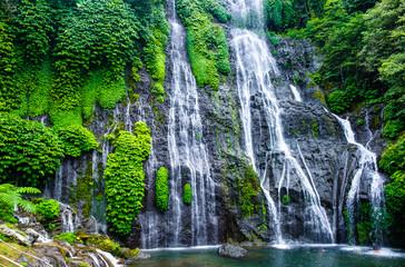 Obraz na SzkleBanyumala Twin Waterfalls. Jungle waterfall cascade in tropical rainforest with rock and turquoise blue pond. Bali, Indonesia.