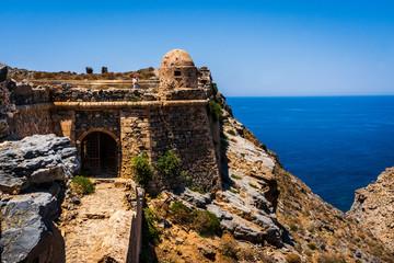 Ruins of Venetian fort on Imeri Gramvousa Island near island of Crete