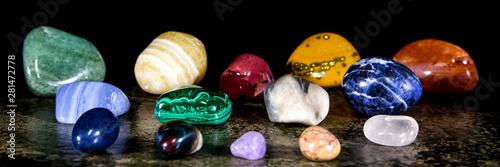 Fotografie, Tablou  Panorama, verschiedene Mineralien getrommelt, Heilsteine und Mineralogie