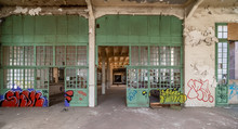 Old Abandoned Factory With Graffiti