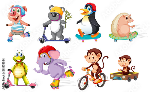 Set of animals riding bikes and scooters