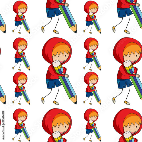 Seamless pattern tile cartoon with boy with pencil