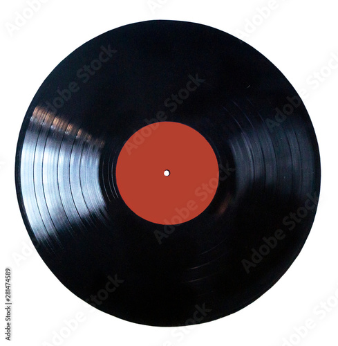 Fotomural  Black vinyl record isolated on white background