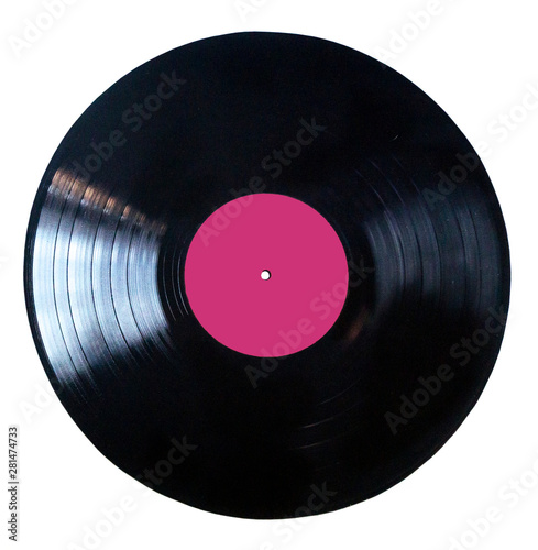 Cuadros en Lienzo  Black vinyl record isolated on white background