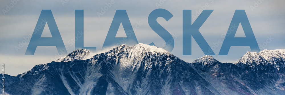 Fototapety, obrazy: Alaska landscape panoramic banner of snow mountain peaks in Glacier Bay National Park, USA. Alaska title poster for cruise travel getaway in summer winter. Background for advertising.