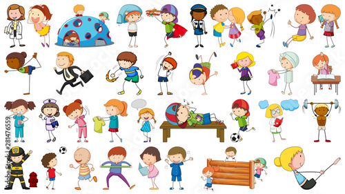 Recess Fitting Kids Group of simple characters