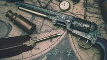 Pistol Gun And  Pen Quill