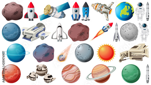 Poster Jeunes enfants Set of planets and space obejcts
