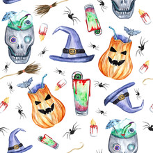 Halloween Party Pattern. Hand Drawn, Watercolor Halloween Background, Pumpkins, Poison Cocktail, Skulls, Spiders, Witch Hat, Eyeballs. Happy Halloween, Gift Paper, Wallpaper, Covering Design.