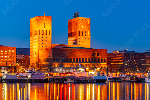 Night view of town hall in oslo viewed behind the port, Norway Canvas Print