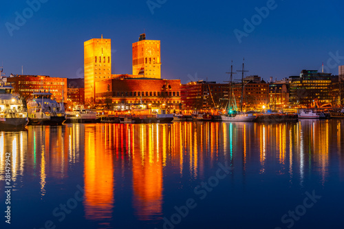 Night view of town hall in oslo viewed behind the port, Norway Wallpaper Mural