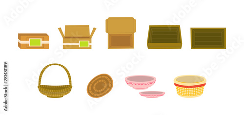 Goods packages flat vector illustration set Canvas Print