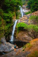 Hiker Admires Mae Pan Waterfall Doi Inthanon