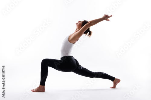 Fotobehang School de yoga Yoga poses on white background, copy space