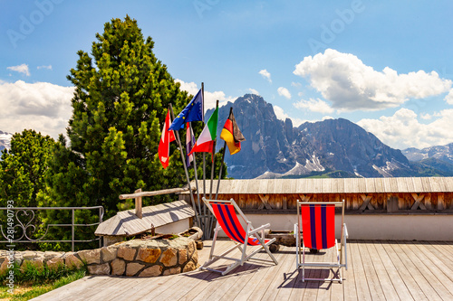 Photo  beautiful view to place of rest with sunbeds near funicular Col Raiser, captured