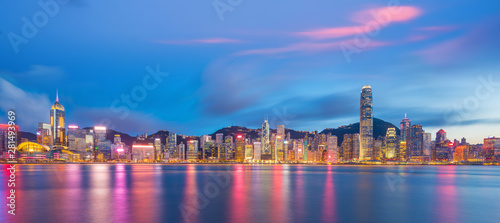 Panoramic view of Victoria Harbor and Hong Kong skyline Poster Mural XXL