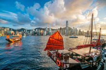 Victoria Harbour Hong Kong  With Vintage Ship