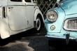 Perfekt restaurierte alte Autos der Fünfzigerjahre aus der Tschechoslowakei im Sonnenschein bei den Golden Oldies in Wettenberg