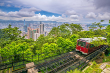 Victoria Peak Tram And Hong Kong City Skyline In China