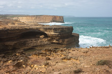 Large Cliffs And Rocks At The Great Ocean Road In Australia