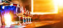 Wine Serving In Glasses In Night Club Bar Restaurant | Blurred Background
