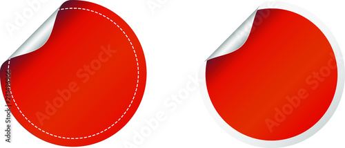 Fotografia Red round sticker label fold over