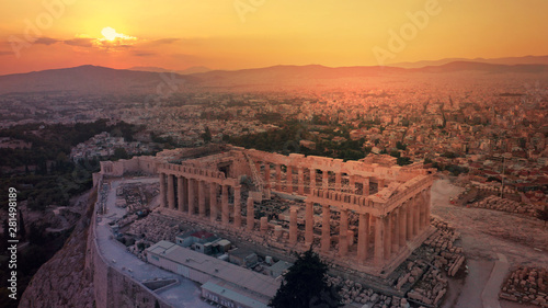 Fototapeta  Aerial drone photo of iconic Acropolis hill and the unique masterpiece of Ancien