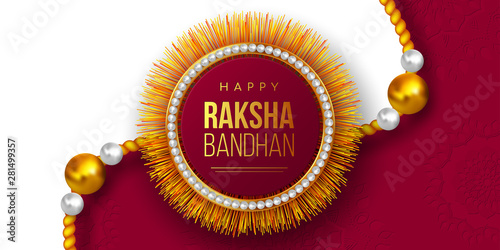 Happy Raksha Bandhan holiday background with decorated rakhi Canvas Print