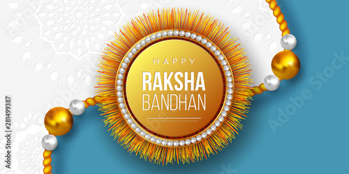 Photo  Happy Raksha Bandhan holiday background with decorated rakhi
