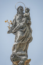 Statue Of Saint Joseph With A Child On Top Of The Column Of Fountain At Charles Square, New Town Hall, Prague, Czech Republic, Details, Closeup