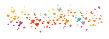 Many Multicolored Hearts With Butterflies. Happy Valentine's Day. Vector Illustration