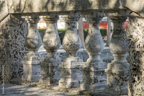 Coral rock ballisters and walkway at Vizcaya Mueum, Coconut Grove, Miami Wallpaper Mural