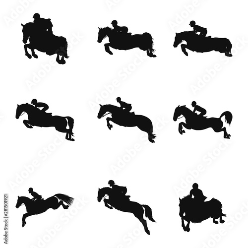 Pinturas sobre lienzo  Set of silhouettes on the theme of the show jumping