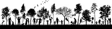 Silhouettes Of People In Natur...