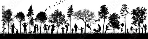 Obraz Silhouettes of people in nature. Happy families together. Vector - fototapety do salonu
