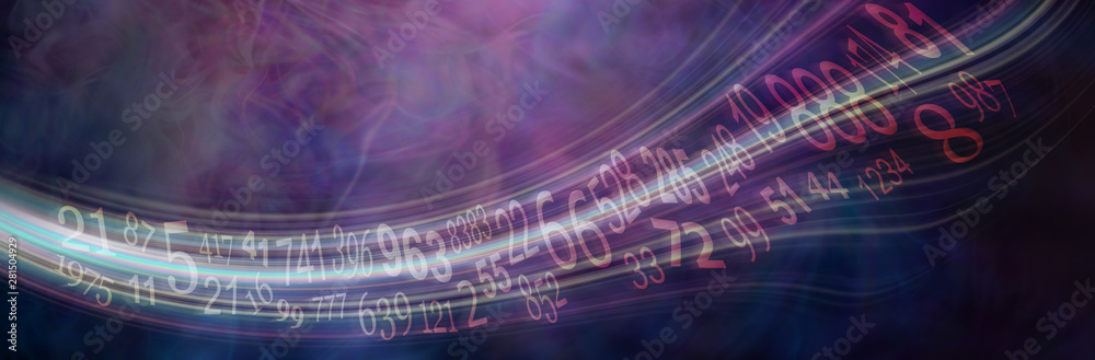 Fototapeta Flowing stream of Solfeggio and Numerology Master Numbers - wide deep purple numerology banner with solfeggio and master numbers flowing across left to right with copy space
