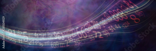 Fototapeta Flowing stream of Solfeggio and Numerology Master Numbers - wide deep purple num