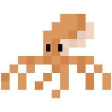 Cute 8 Bit Octopus Illustration. Retro Game Sealife Vector. Pixel Cephalopod Clipart.