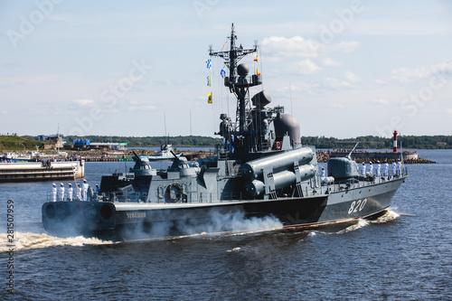 Stampa su Tela A line ahead of modern russian military naval battleships warships in the row, n