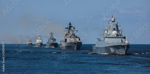 Vászonkép A line ahead of modern russian military naval battleships warships in the row, n