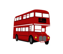 Red Bus Isolated On White Background