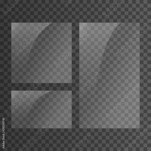 Glass plate set on transparent background. Clear glass showcase. Realistic window mockup. Reflecting rectangle glass banner. Stock vector illustration Wall mural