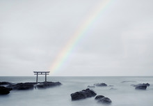 View Of Rainbow Over Torii Gat...