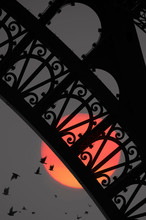 Close Up Of Arch Of Eiffel Tower With Moon And Flock Of Birds In Background